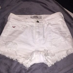 Hollister white ripped high waisted